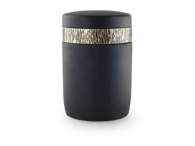 Matzwarte asbus urn - keramiek