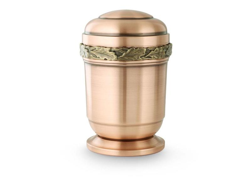 Eikenblad urn met voetstuk - koper