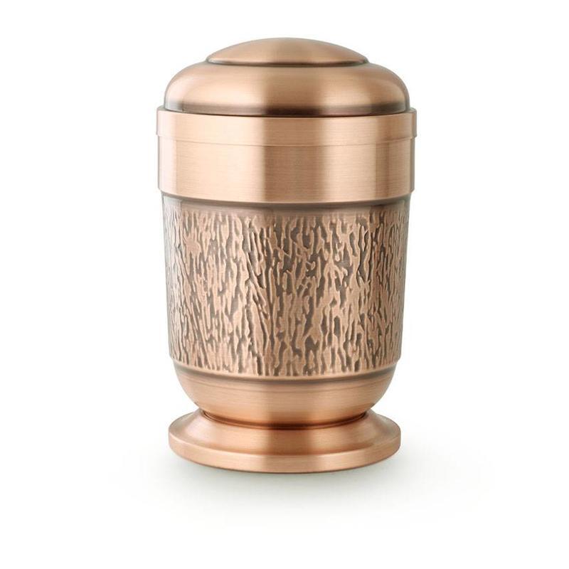 Schors urn met voetstuk - koper
