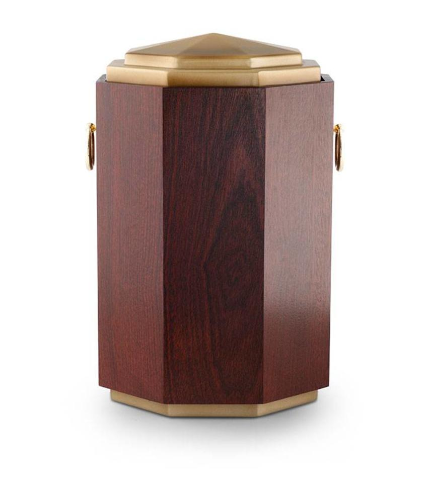 Mahagony met messing urn - hout