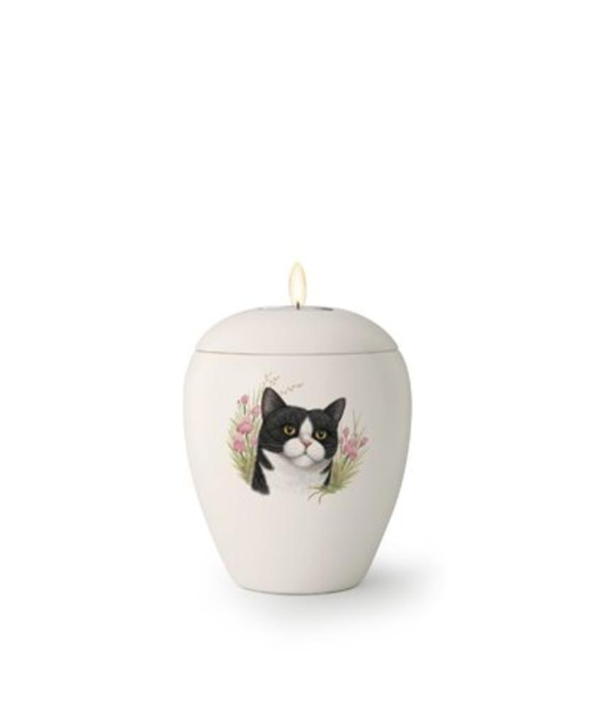 Kattenurn Witneus met lichtje - keramiek