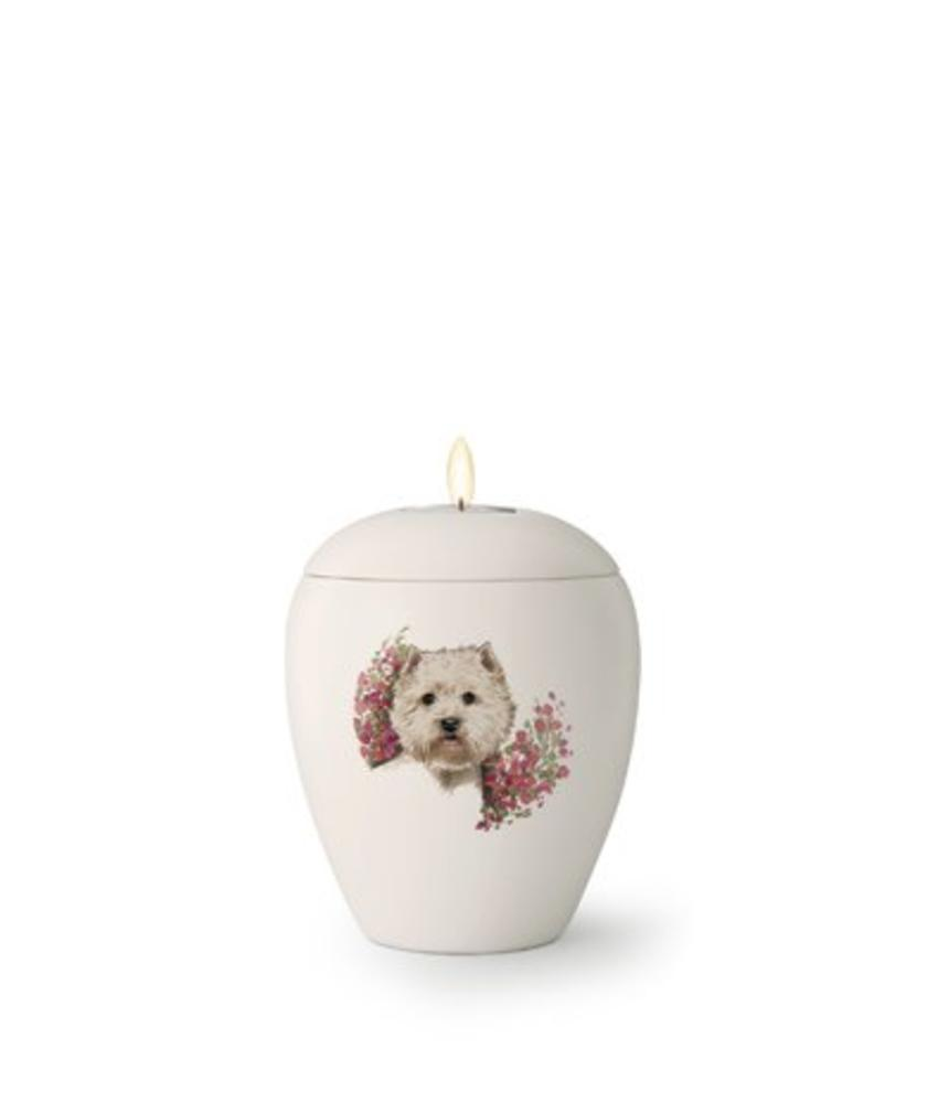 Hondenurn West Highland White Terriër met licht - keramiek