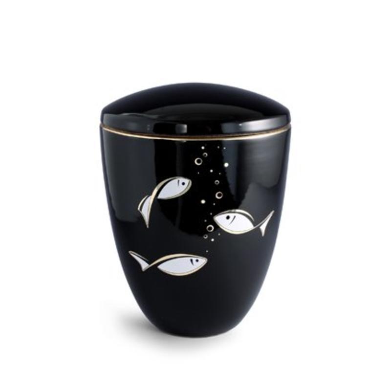 Vis schouwspel urn - keramiek