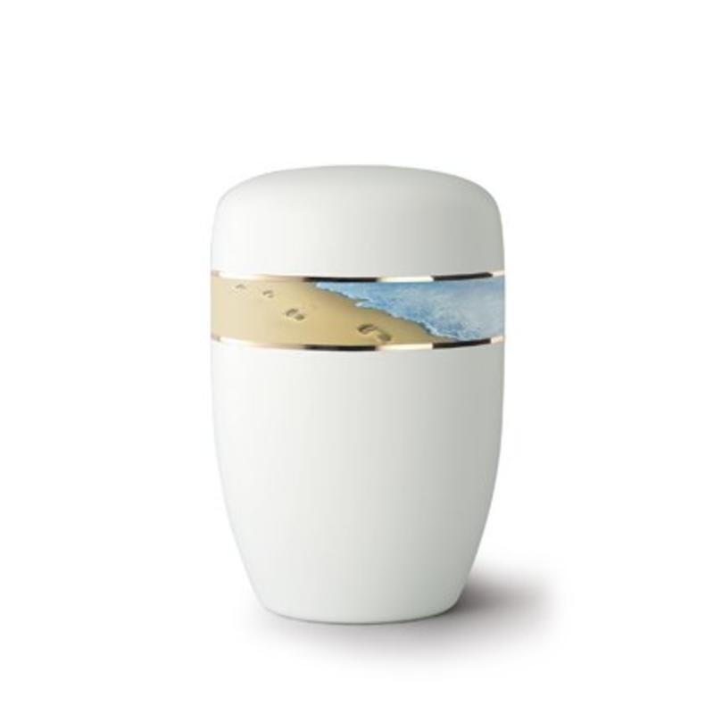 Voetafdrukken in het zand wit - staal