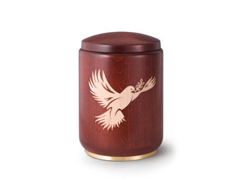 Houten urn duif met palmtak - beuken hout