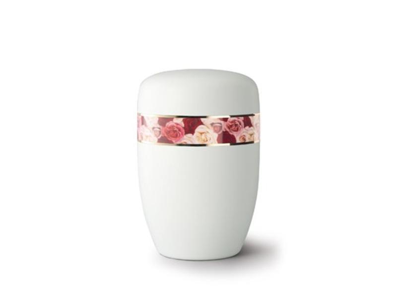 Gekleurde rozen boeket wit - staal
