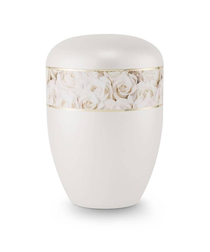 Eco urn parelmoer witte rozen - bio