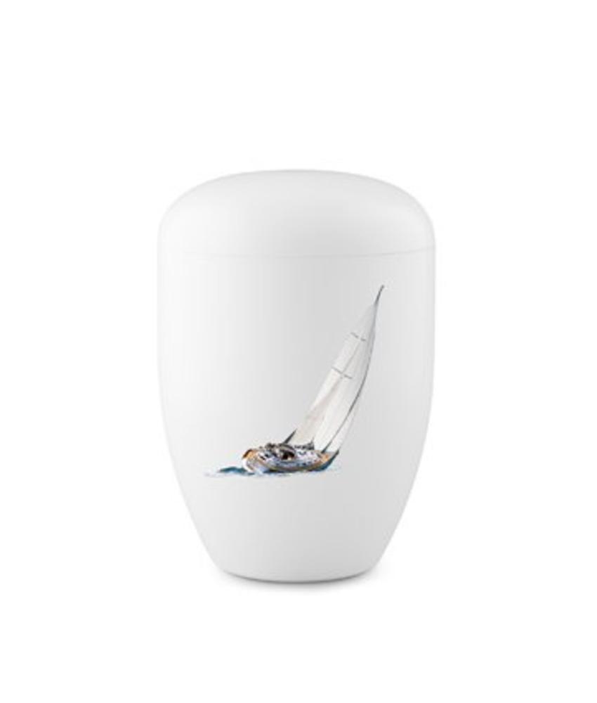 Eco urn wit zeilboot - bio