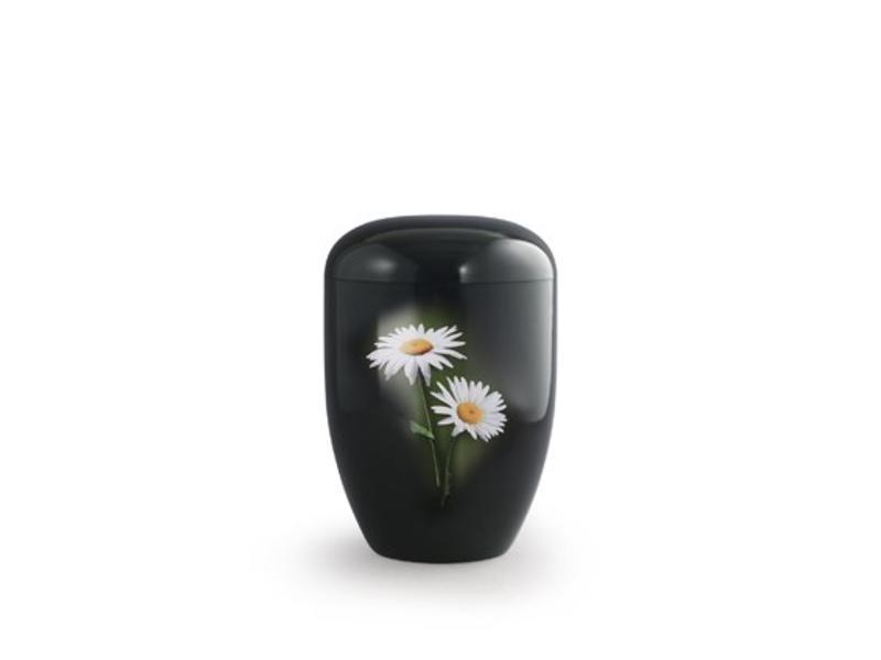 Eco urn zwart margrietjes - bio