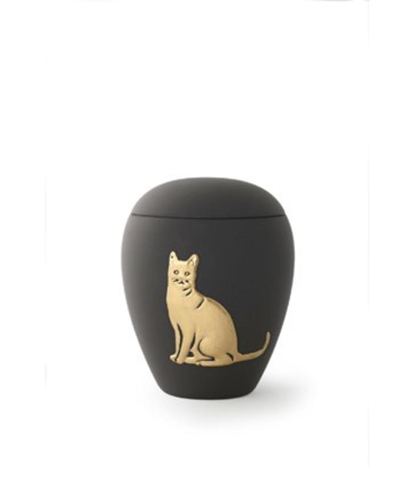 Katten urn zwart met goud - keramiek
