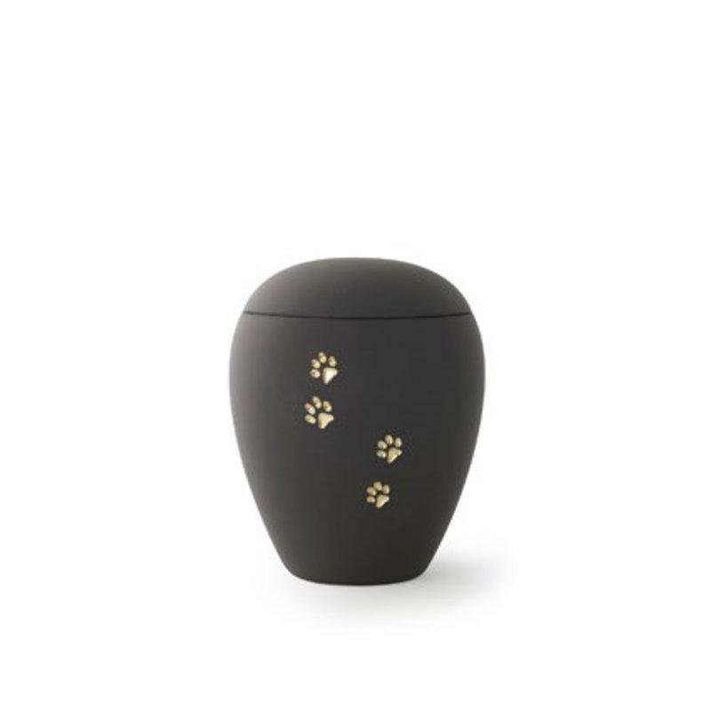 Dieren urn zwart met gouden poten klein - keramiek