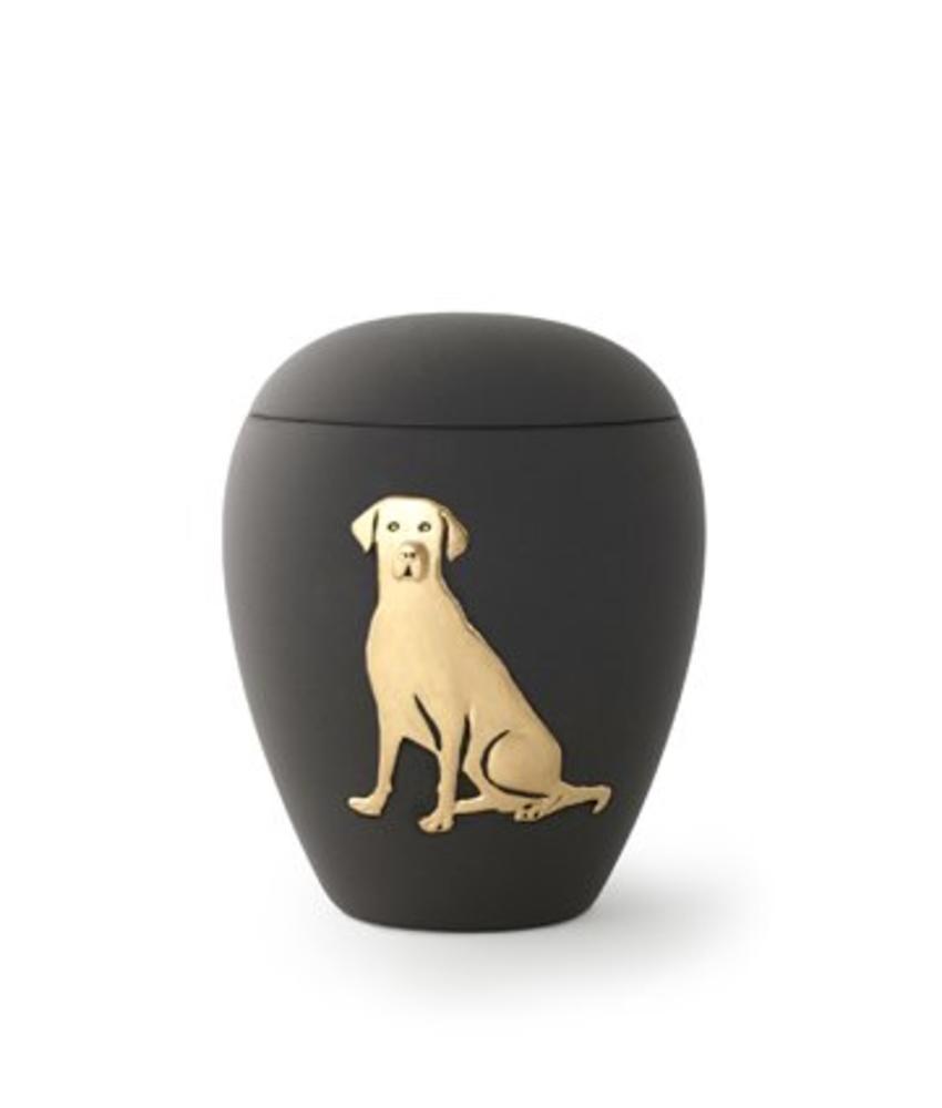 Honden urn zwart met goud - keramiek