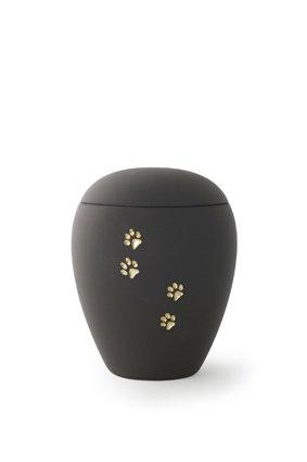 Dieren urn zwart met gouden poten - keramiek