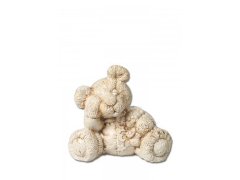 Kinder urn treurige beer naturel - keramiek