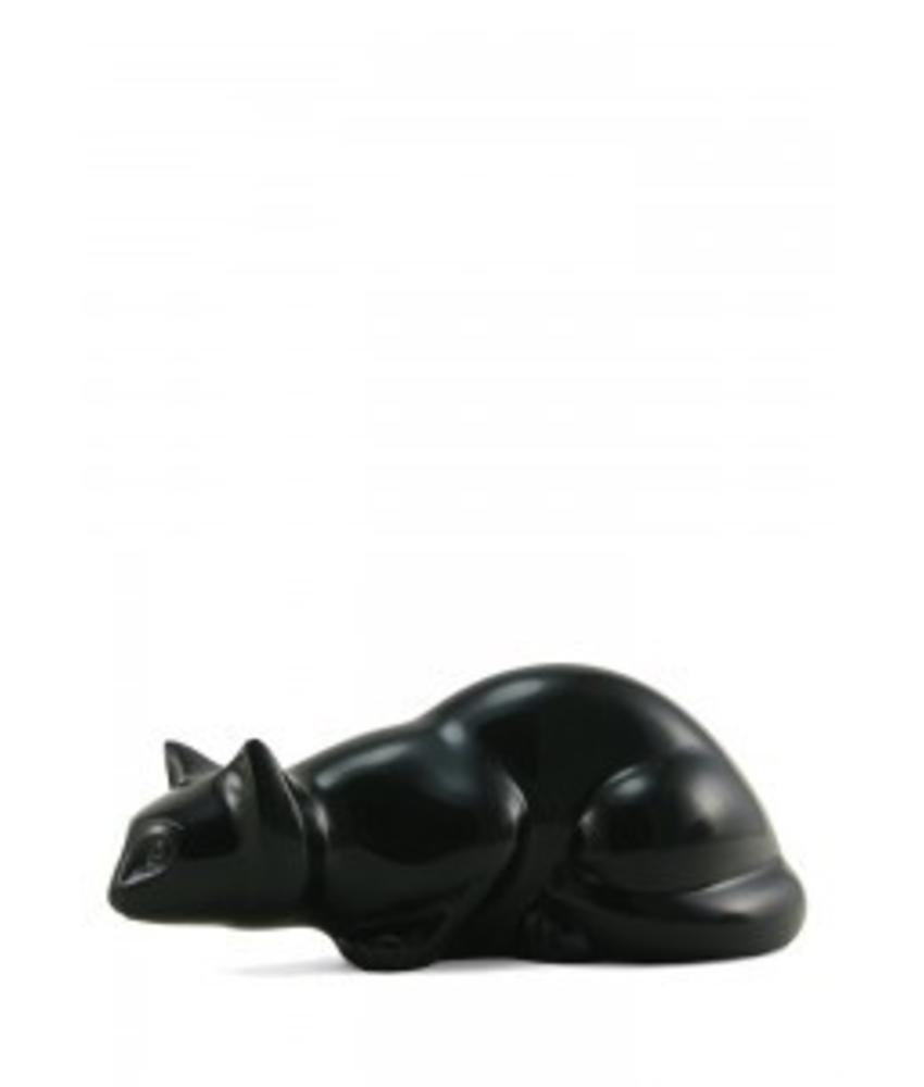 Dieren urn onyx kat zwart - messing