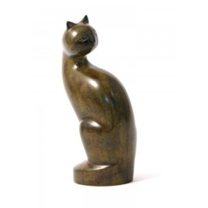 Dieren urn zittende kat calico - koper