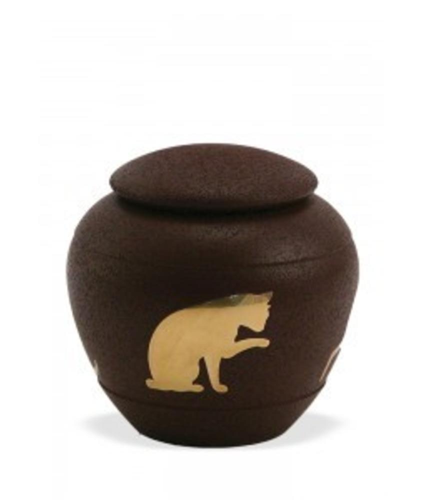 Dieren urn met kat bruin - koper