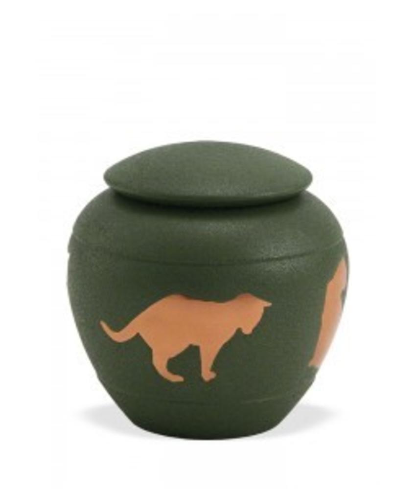 Dieren urn met kat groen - koper