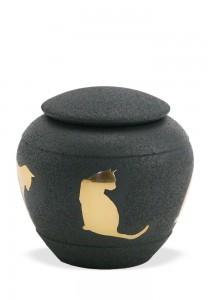 Dieren urn met kat zwart - koper