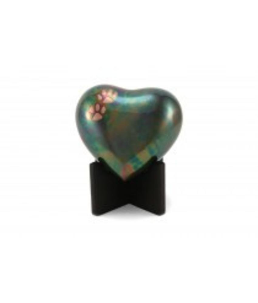 Dieren urn hart groen met pootafdrukken - koper