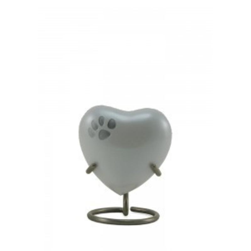 Dierenurn hartvorm pearl odyssey met pootafdruk - koper