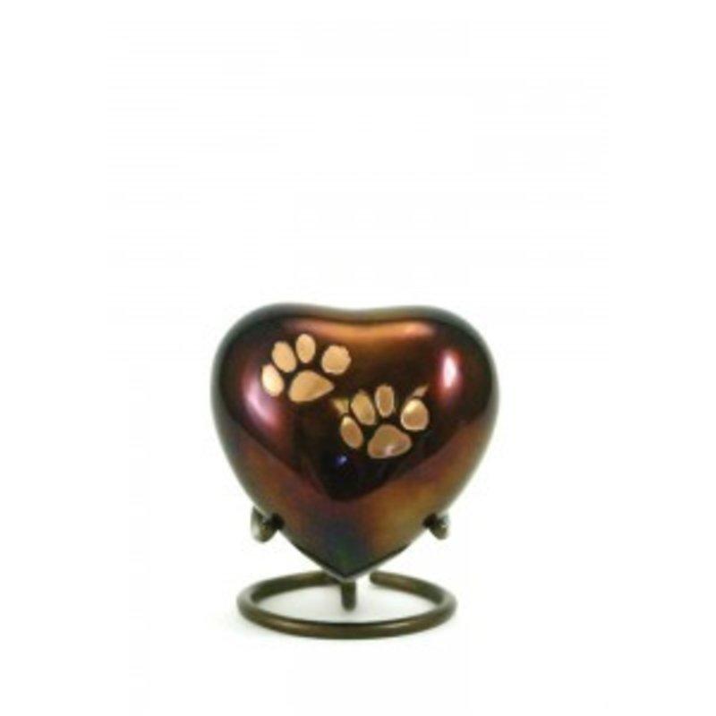 Dierenurn hartvorm copper odyssey met pootafdrukken - koper