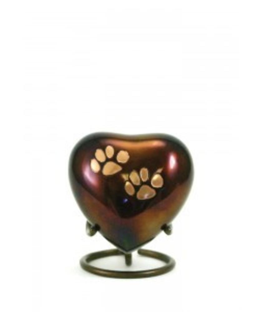 Dierenurn hartvorm copper odyssey met pootjes - koper