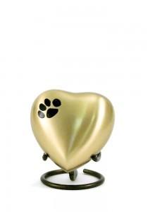 Dierenurn hartvorm met pootafdruk goudgeel - koper