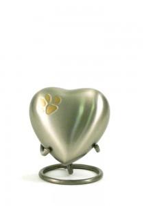Dierenurn hartvorm met pootafdruk groen - koper