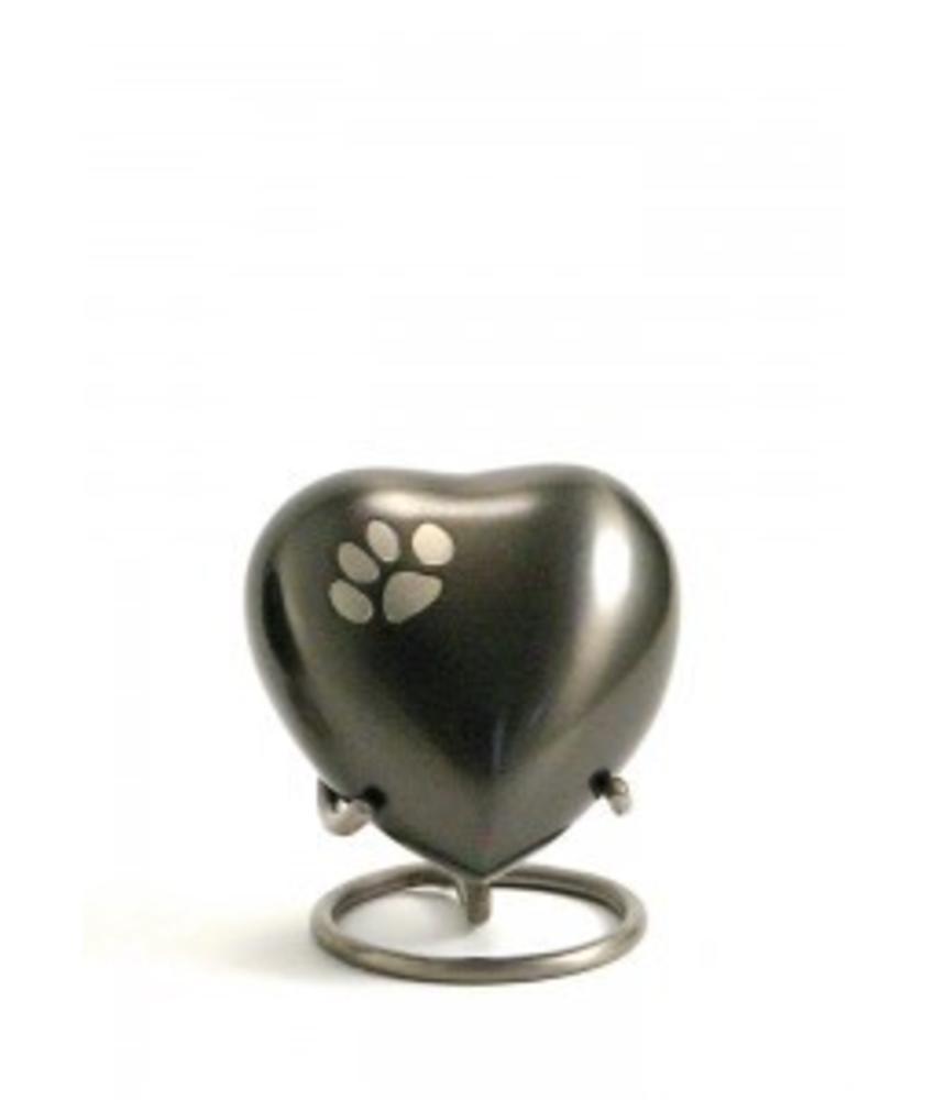 Dierenurn hartvorm met pootafdruk donker - koper