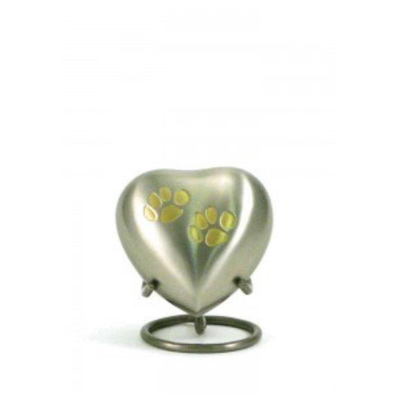 Dierenurn hartvorm odyssey met pootjes - koper