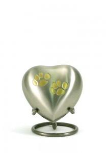 Dierenurn hartvorm odyssey met pootafdrukken - koper