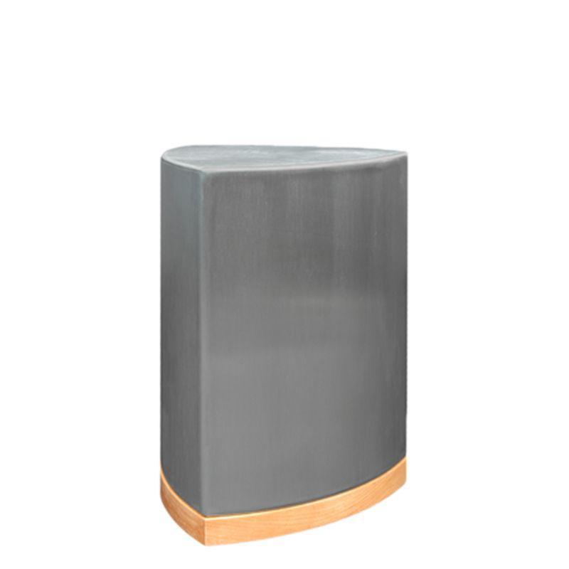 RVS urn barcelona klein met houten voetstuk - RVS