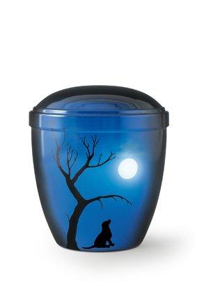 Honden urn hond onder boom bij maanlicht blauw - aluminium