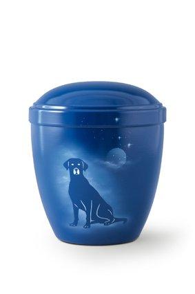 Honden urn zittende hond blauw - aluminium