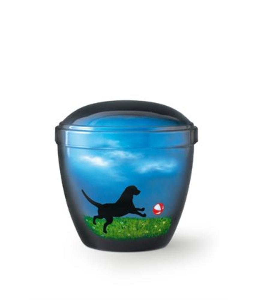 Honden urn spelen met bal blauw - aluminium