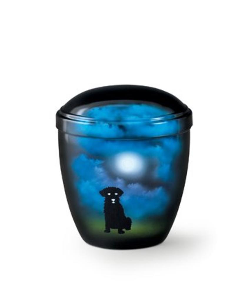 Honden urn hond bij maanlicht blauw - aluminium