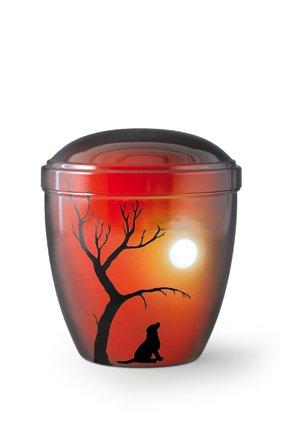 Honden urn hond bij maanlicht rood - aluminium