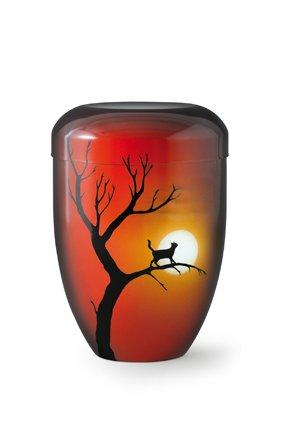 Katten urn kat in boom bij maanlicht rood - aluminium