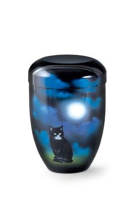 Katten urn zittende kat bij maanlicht blauw - aluminium