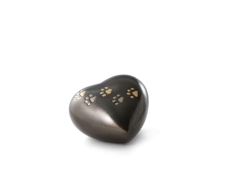 Dierenurn donkergrijs hart met goud en zilverkleurige pootafdruk - messing