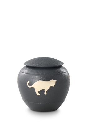 Katten urn grijs - messing