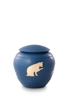 Katten urn blauw - messing