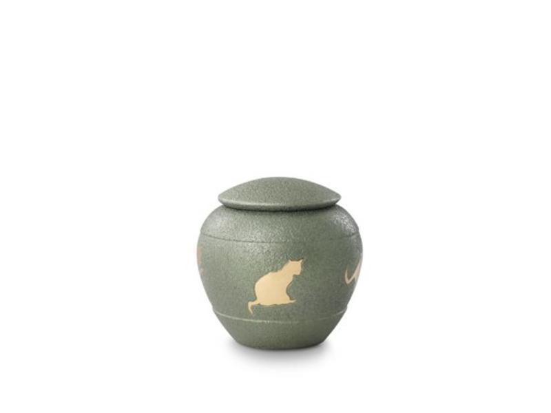 Katten urn groen - messing
