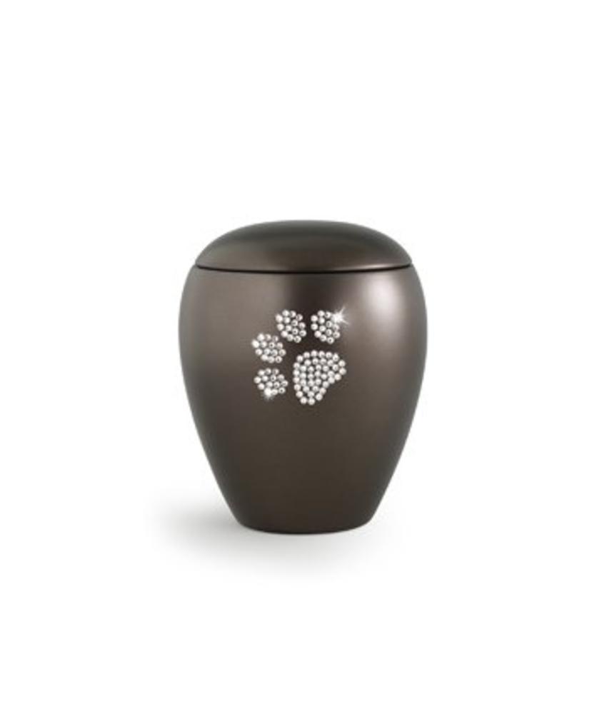 Dierenurn bruin paarlemoer swarovski pootafdruk klein - keramiek