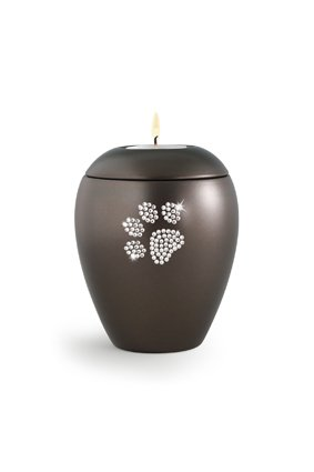 Dierenurn bruin paarlemoer swarovski pootafdruk met licht klein - keramiek