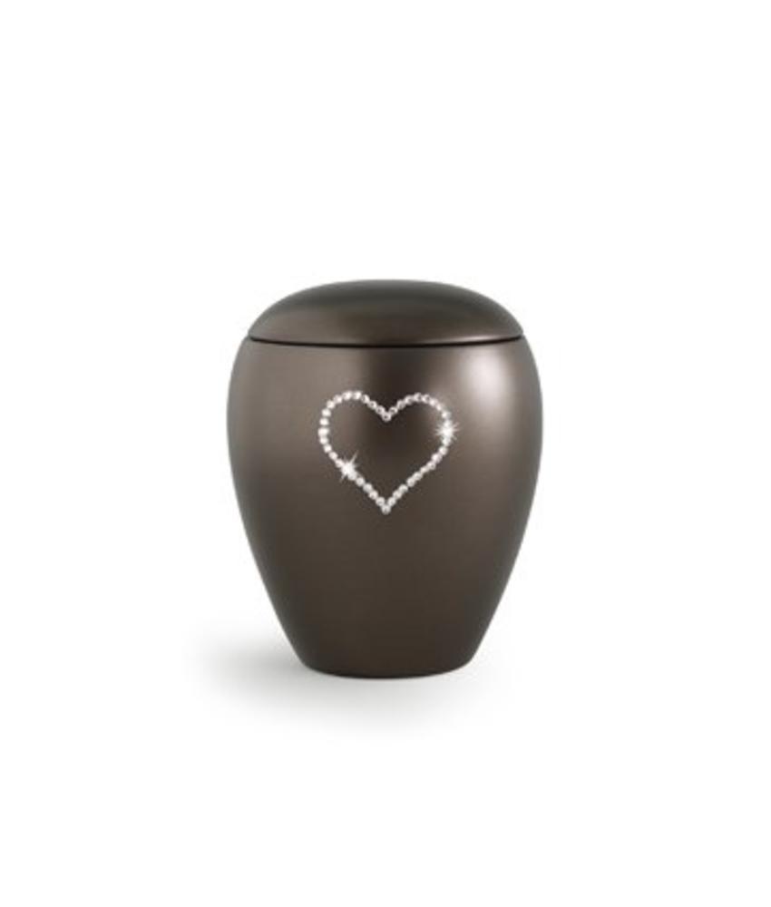 Dierenurn bruin paarlemoer swarovski hart klein - keramiek