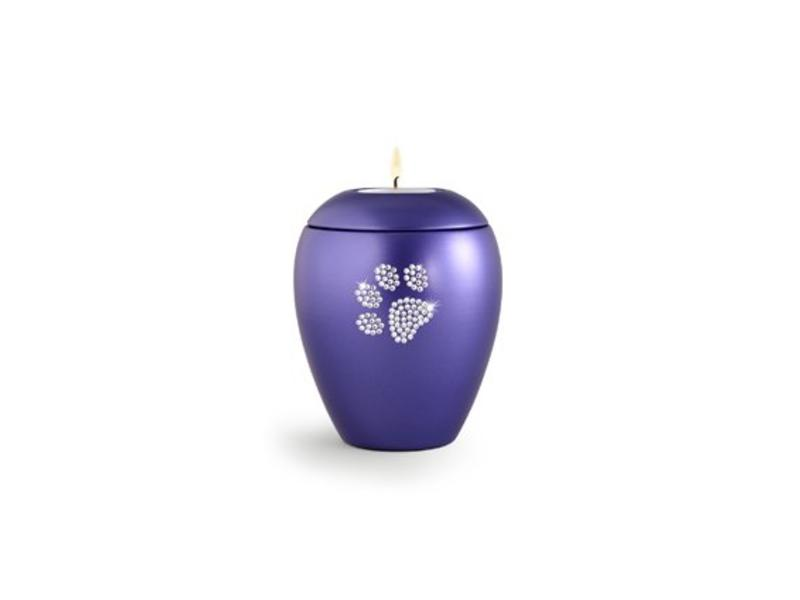 Dierenurn violette paarlemoer swarovski pootafdruk klein - keramiek