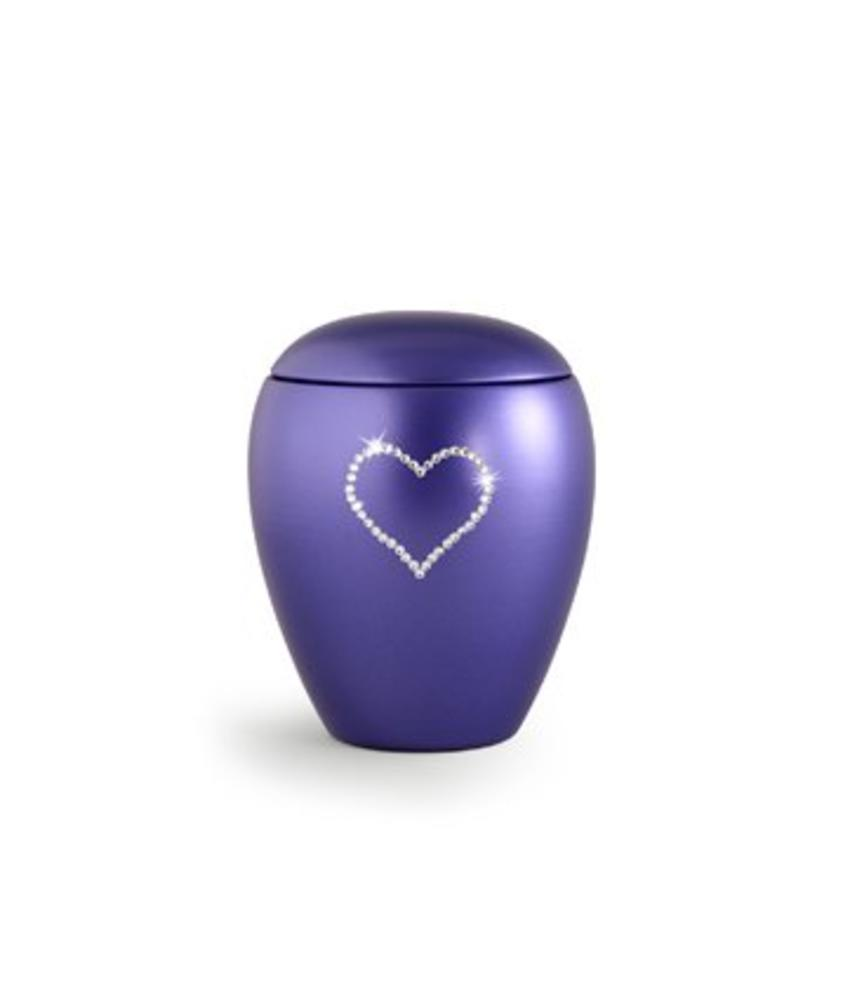Dierenurn violette paarlemoer swarovski hart klein - keramiek
