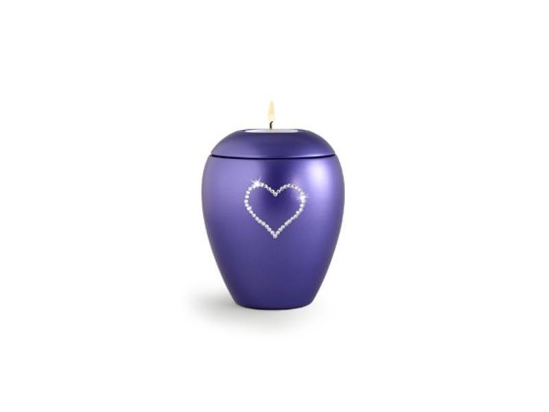 Dierenurn violette paarlemoer swarovski hart met licht klein - keramiek